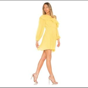 Endless Rose Pleated One Shoulder Dress Yellow NWT